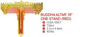 "BUDDA ALTAR 16"" ONE STAND (RED)"